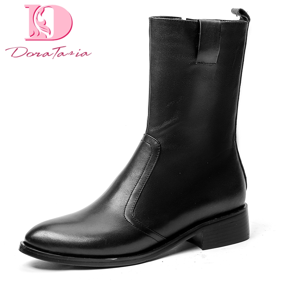 Doratasia brand new 2018 Genuine Leather Zip Up Cow Leather Shoes Woman Boots Mid Calf Boots Woman Shoes riding boots doratasia 2018 genuine leather zip up cow leather shoes woman martin boots chunky heels wholesale mid calf boots woman shoes