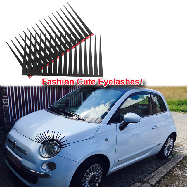 1 Pair Fashion Cute Car Styling Stickers Black Eyelashes Vehicle