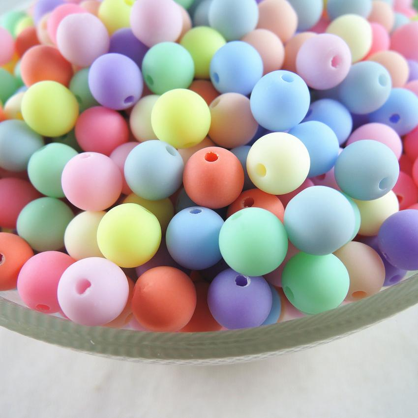Beads & Jewelry Making Jewelry & Accessories New 6.8.10.12.14mm Acrylic Round Gumball Neon Rubber Spacer Beads Wholesale Mixed Color Diy Bracelet Necklace Jewelry Making