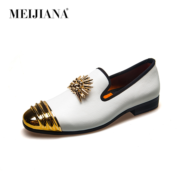MEIJIANA Brand New Luxury Men  Loafer Patchwork Genuine Leather And Horsehair Round Toe Slip On Loafers Men Shoes 2