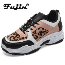 Fujin Women Shoes Thick Soles Dads Dropshipping Leopard-print White Shoes Women sneakers of Leisure Female shoe my dads