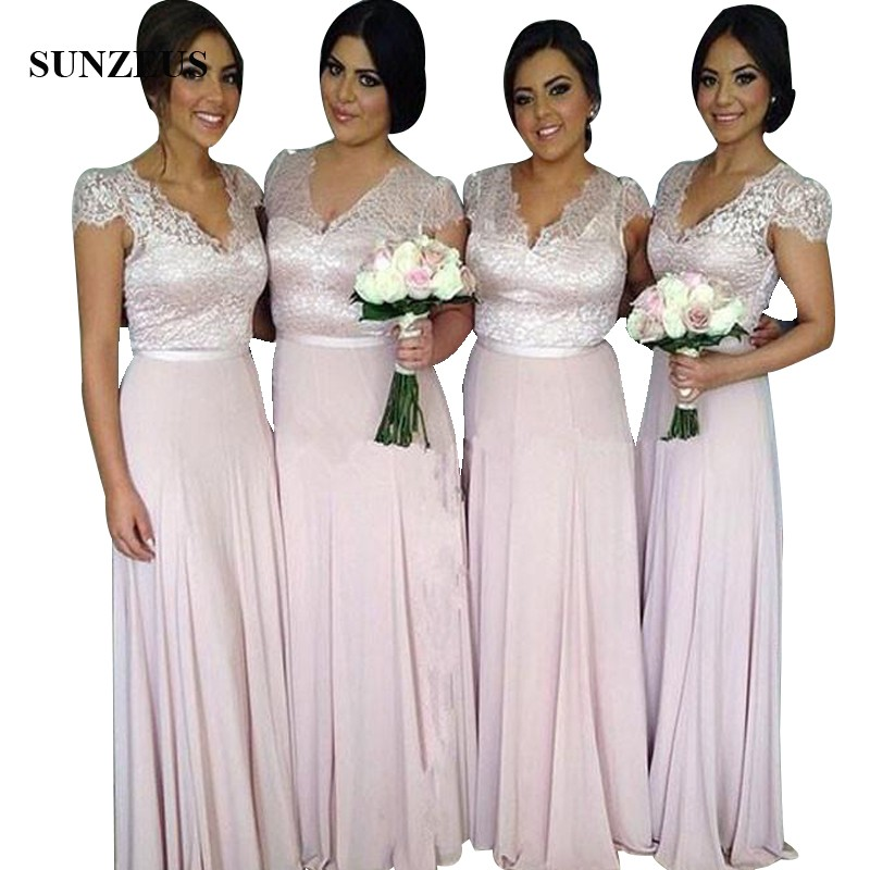 Lace Bodice Cap Sleeve Long Bridesmaid Dresses A-line V-neck Women ...