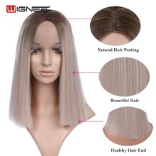Wignee Straight Hair Lace Front Synthetic Wigs For Women High Density Ombre Baby Blonde Soft 2019 New Arrival Fashion Wig
