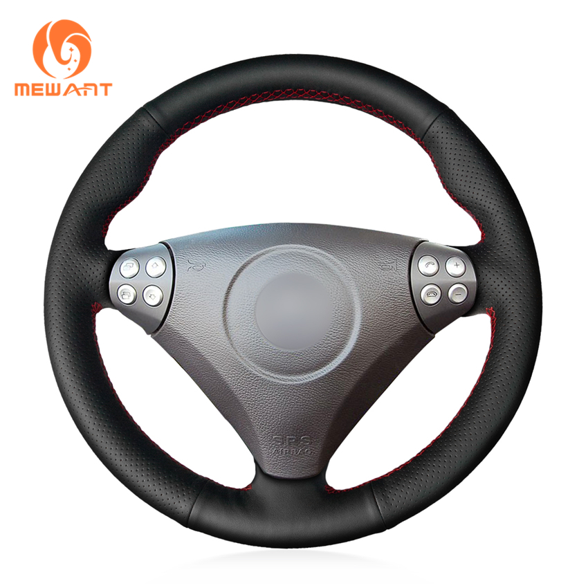 MEWANT Black Genuine Leather Car Steering Wheel Cover for <font><b>Mercedes</b></font> <font><b>Benz</b></font> SLK-Class W170 W171 SLK 2004-2008 <font><b>C230</b></font> Kompressor Sport image