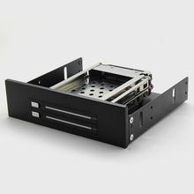 Tool-free Serial ATA HDD Rom Trayless Mobile Rack for Dual 2.5″ SATA SSD / HDD Hard Disk Drive LED Lndicator with Alumium
