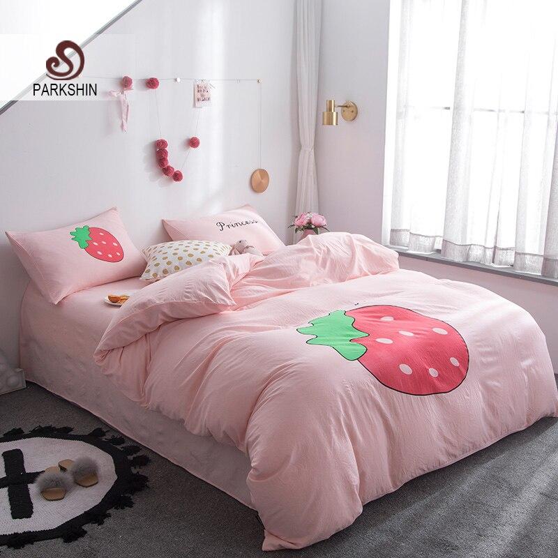 ParkShin fraise dessin animé parure de lit rose housse de couette ensemble linge de lit drap plat taies d'oreiller Double reine King Size ensembles de lit