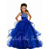 Fancy Kids Pageant Dresses Glitz Royal Blue Beading Crystal One Shoulder Long Tulle Custom First Communion