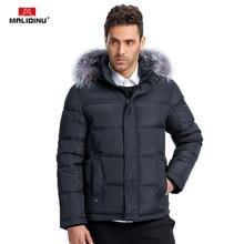 цены на MALIDINU 2017 Brand Men Winter Down Jacket 70% White Duck Down Thick Down Coat Parka European Size Detachable Hood Free Shipping  в интернет-магазинах