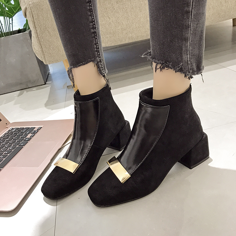 Moxxy European Style Pumps Woman British Style Ankle Boots Winter Boots Women Bling Leather Thick High Heel Shoes Botas Mujer