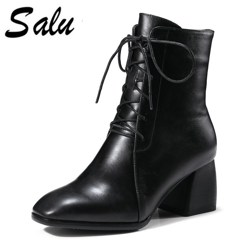 Salu 2018 new fashion shoes woman Genuine leather ankle boots for women lace up autumn winter shoes high heels black red boots