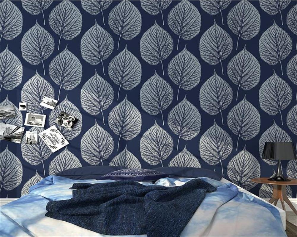 Beibehang Nordic Modern Blue Leaf Resin Wallpaper Living Room Bedroom TV Wallpaper Luxurious Home Decorative 3d Wallpaper Roll blue earth cosmic sky zenith living room ceiling murals 3d wallpaper the living room bedroom study paper 3d wallpaper