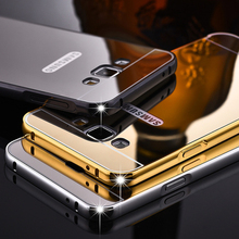 Luxury Metal Phone Case For Samsung Galaxy S8 Plus S7 Edge A3 A5 A7 J5 J7 Prime 2017 Plating Aluminum Frame+Mirror Back Cover(China)