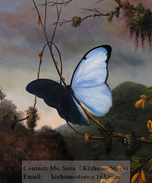 Martin Johnson Heade Blue Morpho Erfly 100 Hand Painted Museum Quality Abstract Flower