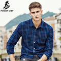 Campamento de pioneros Primavera otoño masculina camisa ocasional de los hombres ropa de marca de Alta calidad 100% algodón a cuadros de manga larga camisa de vestir 677143