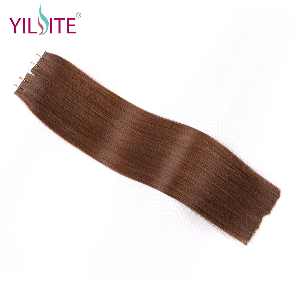 Yilite 16-20inch One Doner Full Cuticle Human Hair Extensions, Can Be Dyed European Remy Hair Tape In Hair Extensions