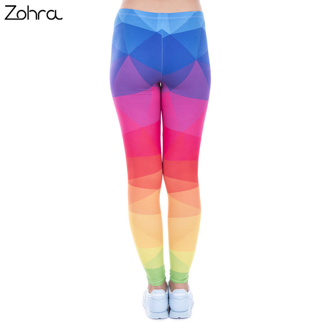 Autumn Winter Leggings Printed Women Legging Colorful Triangles Rainbow Legins High Waist Elastic Leggins Silm Women Pants