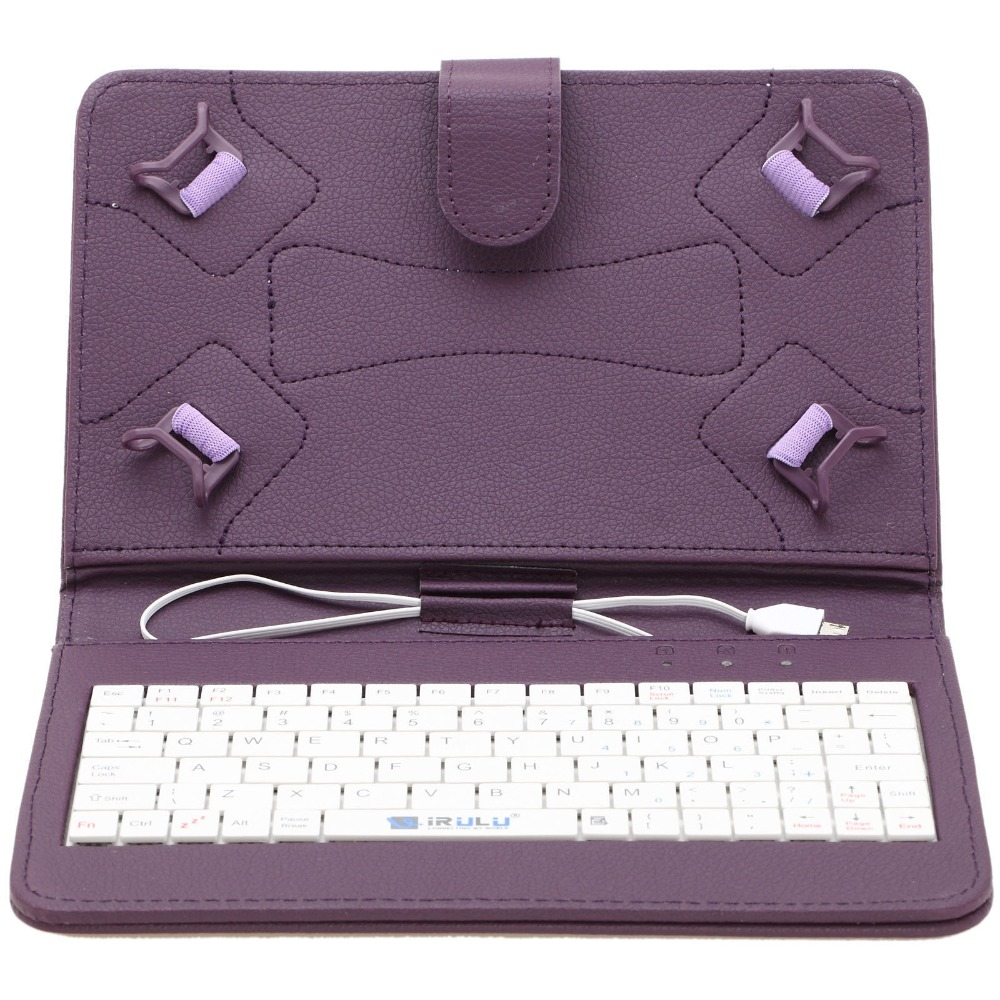 5pcs IRULU 7' PU Leather Micro USB Keyboard Case With Buttons Stand Cover for all 7 inch Tablet English universal micro usb wired 80 key keyboard pu leather case stand for 7 tablet pc pink