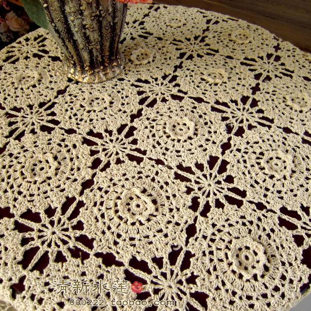 Online Shop 2014 New Fashion Design Cutout Cotton Knitted Tablecloth