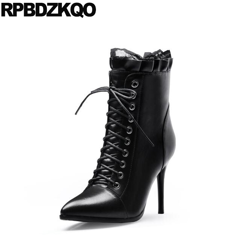 Genuine Leather Ankle Shoes 2017 Lace Up Black Short Luxury Brand Women Booties Winter Pointed Toe Stiletto High Quality Heel short brown high quality chunky fall round toe front lace up casual ankle boots autumn shoes genuine leather women booties heel