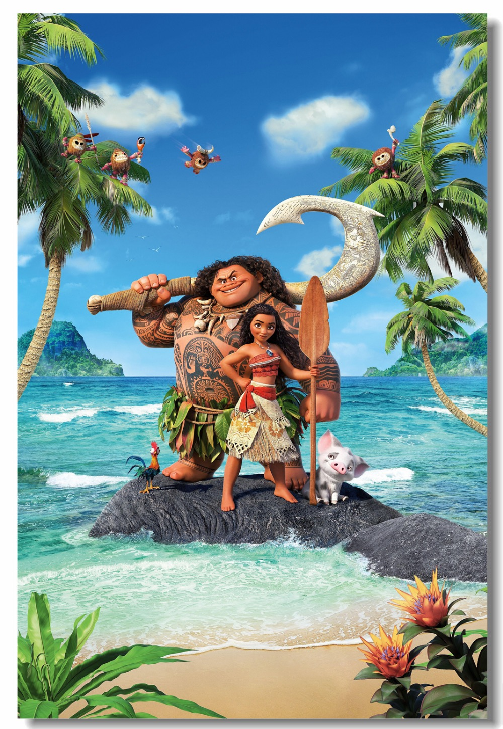 3d Birthday Wallpaper Custom Canvas Wall Decor Vaiana Moana Poster Moana Maui