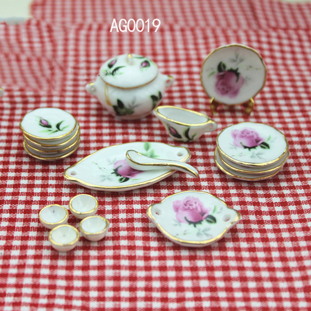 1/12 Dollhouse Miniature Accessories Mini Ceramic Tableware Simulation Plate Cup Spoon Model Toys For Doll House Decoration