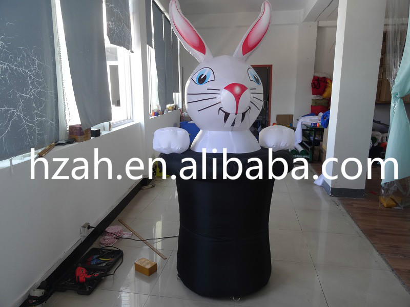 Height 2m Inflatable Rabbit Cartoon in HatHeight 2m Inflatable Rabbit Cartoon in Hat