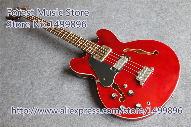 China Custom Shop Left Handed Red ES Electric Guitar Hollow Maple Guitar Body & Kit Available china oem firehawk shop guitar hot selling tl electric guitar stained maple tiger stripes maple wood color page 9