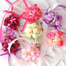 5 Colors Rose Wrist Corsage Bridesmaid Sisters hand flowers Artificial Bride Flowers For Wedding Party Decoration Bridal Prom цена