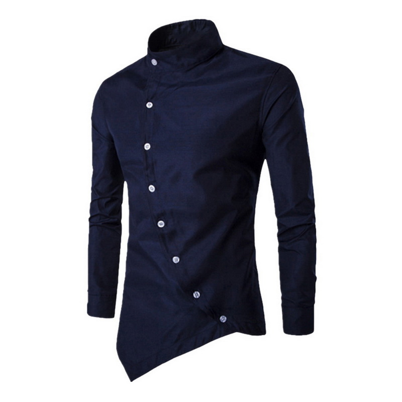 CYSINCOS Camisas Personalized Oblique Button Irregular Men's Casual Shirt 2019 New Men's Long-sleeved Slim Shirt Men's Shirt