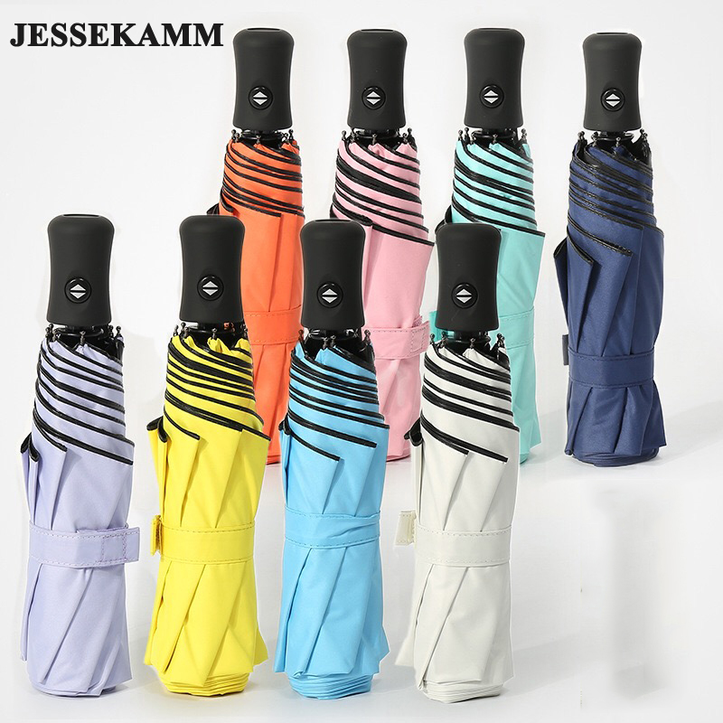 JESSEKAMM New Arrive Safty Reflective Automatic Compact Umbrella 23' Night Walk Travel Safe 190T Pongee Clothe Strong Windproof