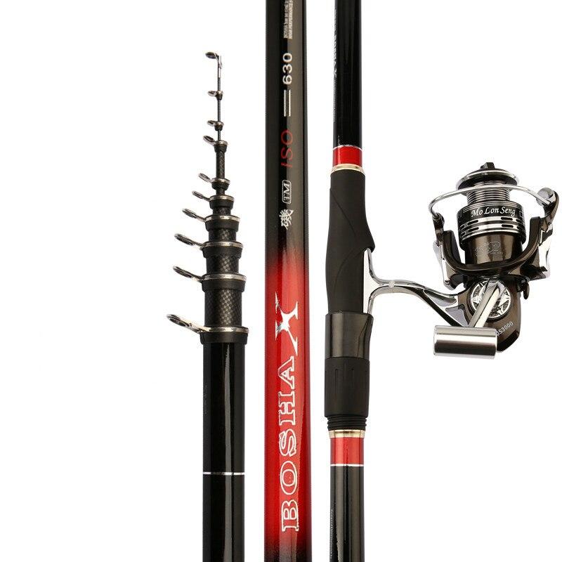Canne à pêche en roche de carbone Ultra-léger Super-dur télescopique pêche Olta longue Section Position main mer double usage Canne à pêche ensemble