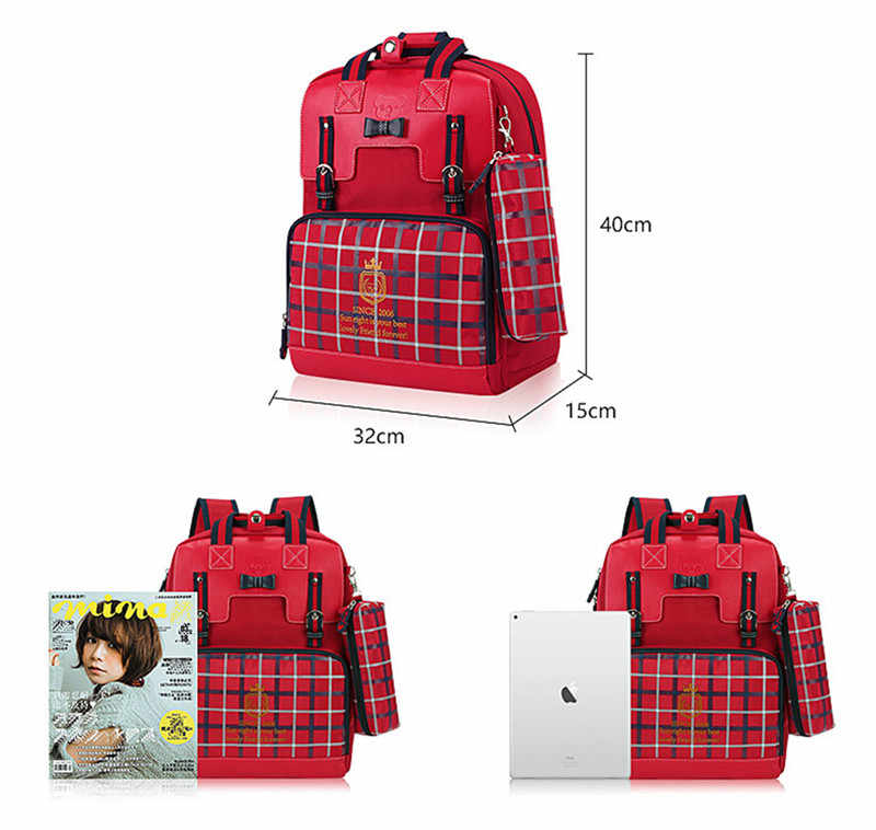 School Children Girl School Bag 1 - 6 Grade Girls Pack Student Paper Backpack Shoulders Breathable School Bag Plaid Sweet