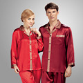 Couple Pajamas 100% Silk Sleepwear Men Summer Style Home Sleepwear Two Piece Sets Pijamas Hombre Pijama Nightgown Women Pajama