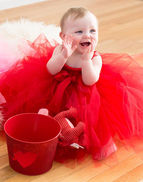 infant solid red tutu baby bridesmaid flower girl wedding dress tulle fluffy ball gown birthday evening prom cloth party dresses