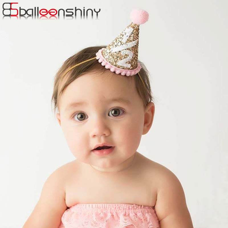 BalleenShiny Newborn Baby Boy Girl Shiny Conical Headwear Hair Decorate First Birthday Party Hats For Children Photography Prop