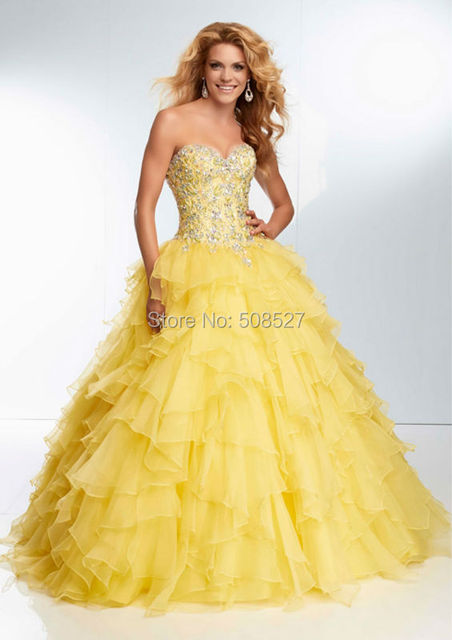 82ac5a7b644 Vestidos Gala 2016 New Custom Made Shiny Yellow Beading Crystal Sequined  Organza Ball Gown Prom Dress