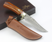 Beautiful SHOOTEY Tactical Hunting Knife Damascus Fixed Blade Knife Handmade Survival Straight Knife copper + wood Handle