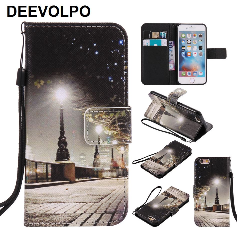Flip Fundas Leather Holster For iPhone X 7 8 6S 6 Plus 5S SE touch 6 5 <font><b>Cases</b></font> Mobile <font><b>Phone</b></font> Bags Colored Painted Stand Covers P06Z