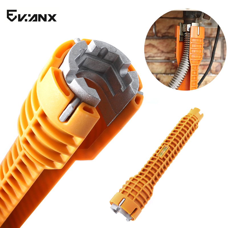 Water Pipe Wrench 225mm Basin Faucet Hex Wrench Universal Sleeve Sink Kitchen Bath Tap Spanner Plumbing With Level Bubble
