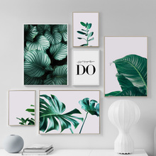 Fresh Leaves Monstera Wall Art Canvas Painting Nordic Posters And Prints Green Plant Art Wall Pictures For Living Room Decor green leaves do what you love quote nordic posters and prints wall art canvas painting plant wall pictures for living room decor