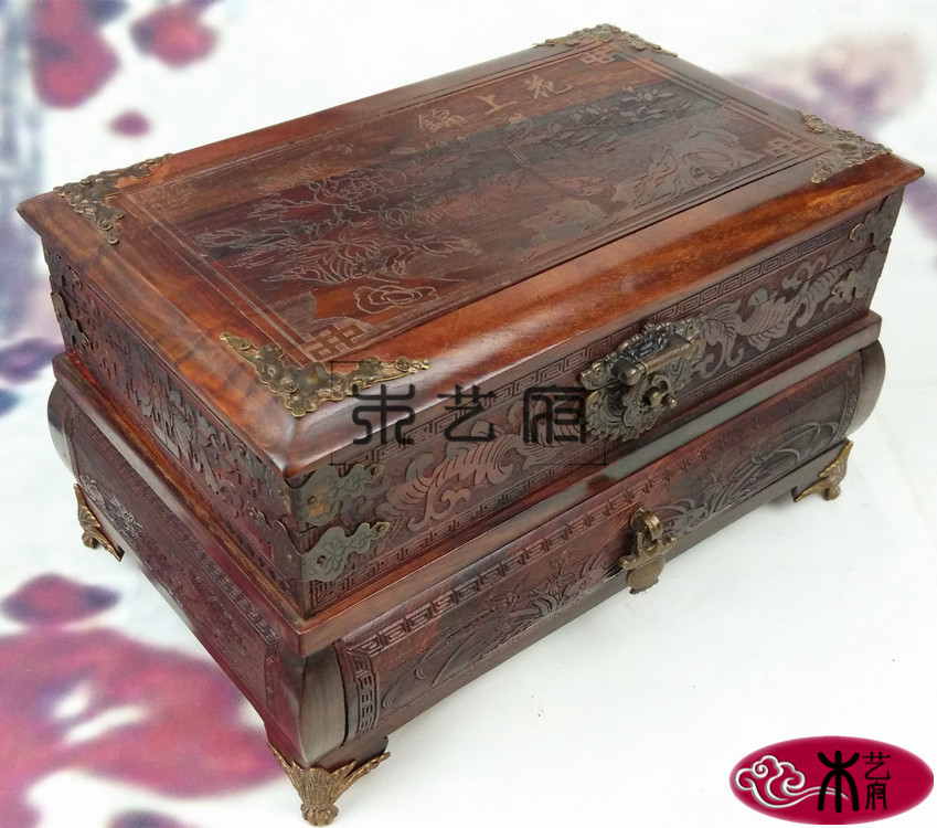 Laos red wood mirror box jewelry box jewelry box red wood carving furniture ornaments wedding dowry