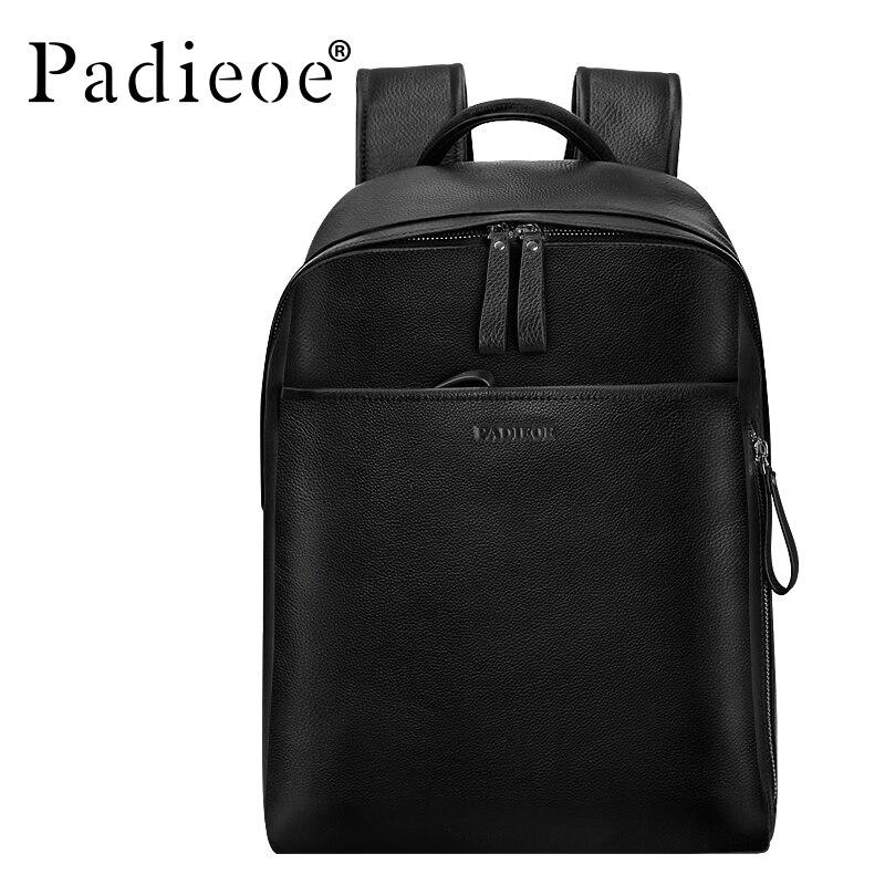Padieoe Véritable sac à dos en cuir Pour Homme Vachette Véritable Grand Mâle sac à dos à double fermeture éclair sac à dos de voyage Classique Unisexe sac noir