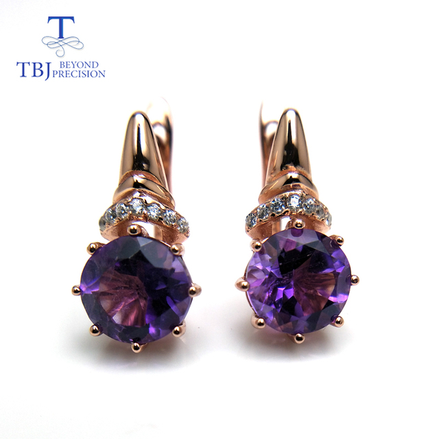TBJ,Natural African good luster color amethyst gemstone clasp earring 925 sterling silver rose gold fine jewelry for girls gift