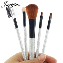 JWEIJIAO Silver Handle Makeup Brushes Set Eye Shadow Foundation Powder Eyeliner Eyelash Make Up Brush Women Beauty Tools 5Pcs