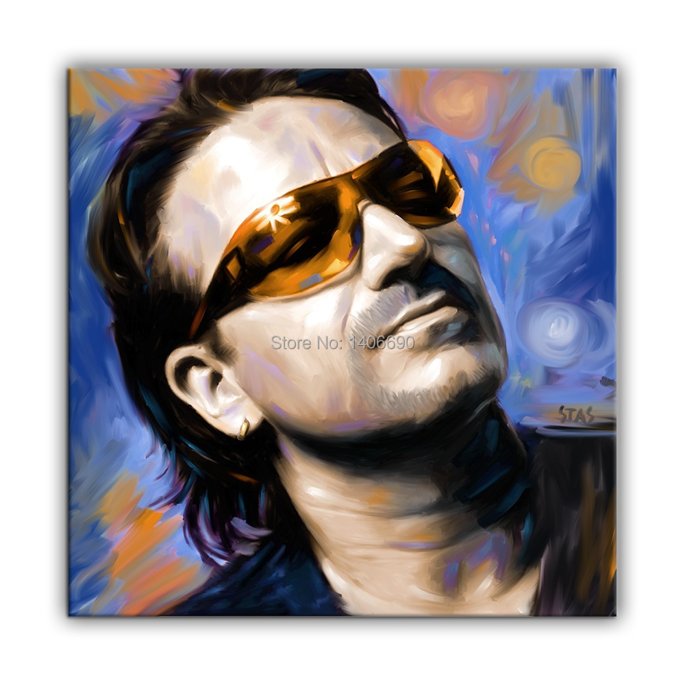 home top hand painted rock cool decor art -  U2 bono  24 inches OIL painting---special offer-free shipping cost