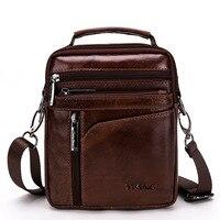 Messenger Bags Men Shoulder Bag Mini Male Slung Top Layer Leather Multi function Tide Casual Bag Genuine Leather