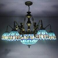 Европейский Средиземноморский Тиффани Ретро подвесной светильник E27 110 240 В цепи подвесные светильники лампы освещения для дома кафе Обеден