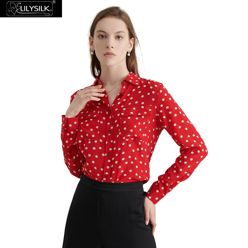 LilySilk Blouse Women Silk Vintage Polka Dot Ladies New Free Shipping