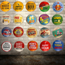 Shabby chic Round Tin signs Beer Lemonade Garage Motor Art Poster Restaurant Coffee Cafe Bar Pub Home Wall Decor(China)
