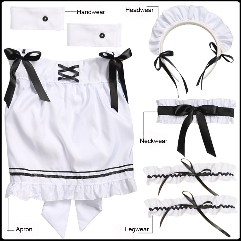 Image 3 - Black Cute Lolita Maid Costumes French Maid Dress Girls Woman Amine Cosplay Costume Waitress Maid Party Stage Costumes    -